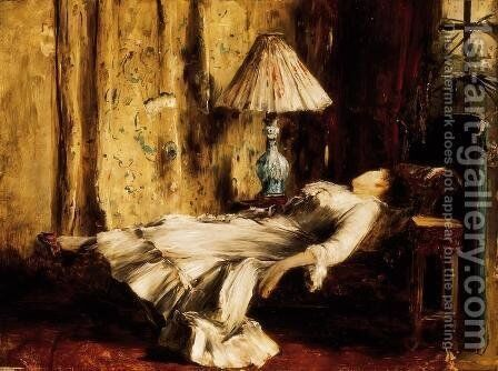 Relaxing Lady by Mihaly Munkacsy - Reproduction Oil Painting
