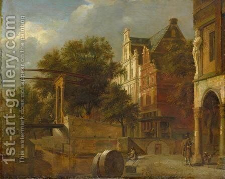 Cityscape with Drawbridge by Adriaen Van De Velde - Reproduction Oil Painting