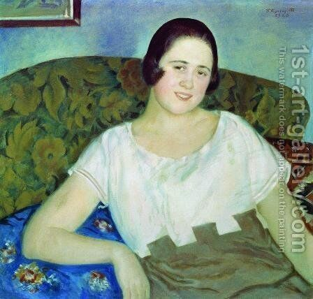 Portrait of I. Ivanova by Boris Kustodiev - Reproduction Oil Painting