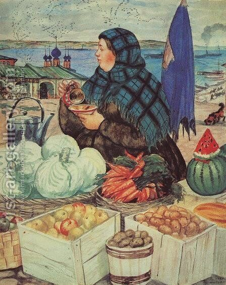Vegetables Merchant by Boris Kustodiev - Reproduction Oil Painting