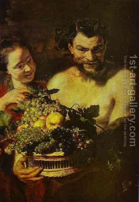 Satyr and Girl with a Basket of Fruit by Jacob Jordaens - Reproduction Oil Painting