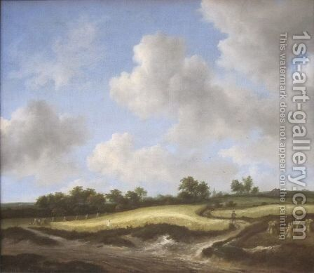 Landscape with a Wheatfield by Jacob Van Ruisdael - Reproduction Oil Painting