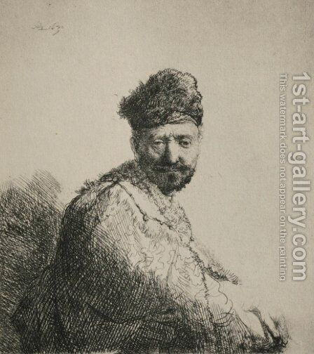 A Man with a Short Beard and Embroidered Cloak by Rembrandt - Reproduction Oil Painting