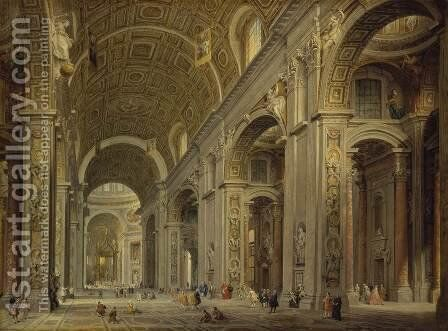 Interior of St Peter's in Rome by Giovanni Paolo Panini - Reproduction Oil Painting