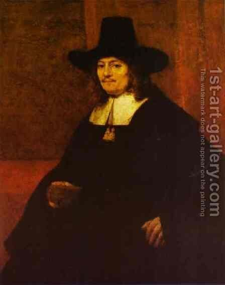 Portrait of a Man in a Tall Hat by Rembrandt - Reproduction Oil Painting