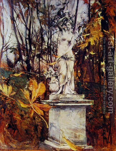 Statue in the Park of Versailles by Giovanni Boldini - Reproduction Oil Painting