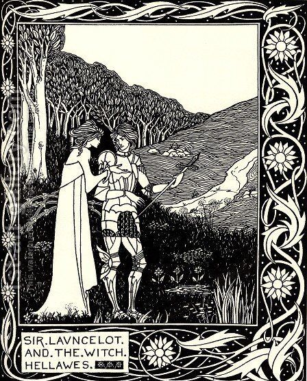 Sir Launcelot and the Witch Hellawes by Aubrey Vincent Beardsley - Reproduction Oil Painting