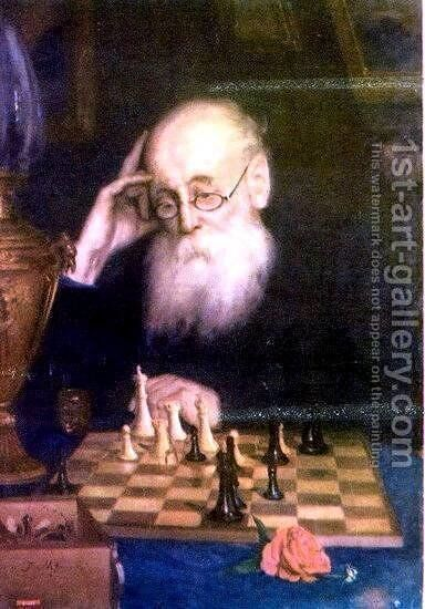 Portrait of chess player A. D.  Petrova by Grigori Grigorievich Mjasoedov - Reproduction Oil Painting