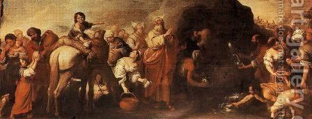 Moses and the water from the rock of Horeb by Bartolome Esteban Murillo - Reproduction Oil Painting