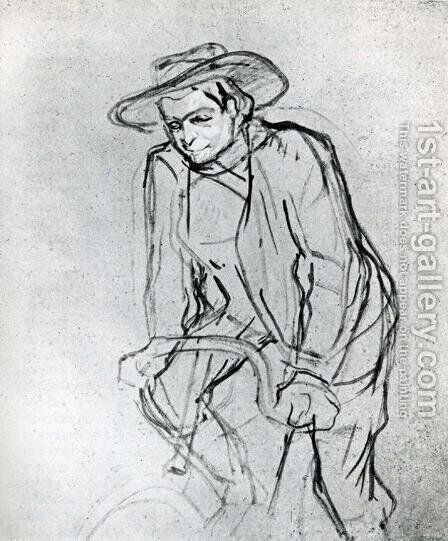 Aristide Bruant on His Bicycle by Toulouse-Lautrec - Reproduction Oil Painting