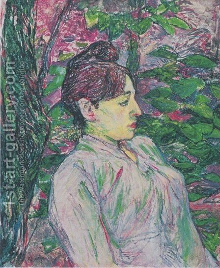The Greens (Seated Woman in a Garden) by Toulouse-Lautrec - Reproduction Oil Painting