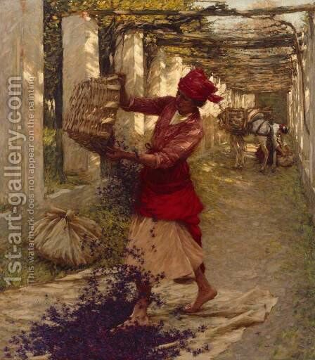 Violets for Perfume by Henry Herbert La Thangue - Reproduction Oil Painting