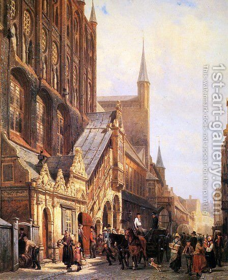 Cityhall in Lbeck by Cornelis Springer - Reproduction Oil Painting