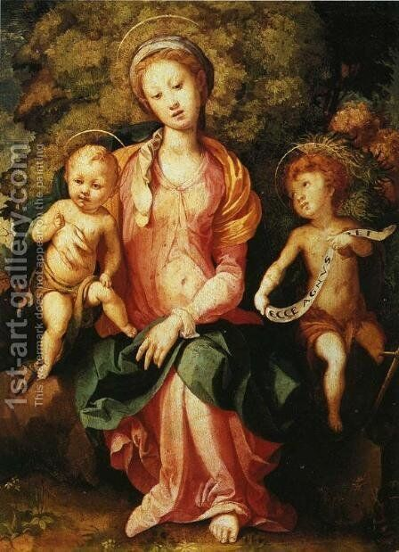 Madonna and Child with the Young Saint John 2 by (Jacopo Carucci) Pontormo - Reproduction Oil Painting