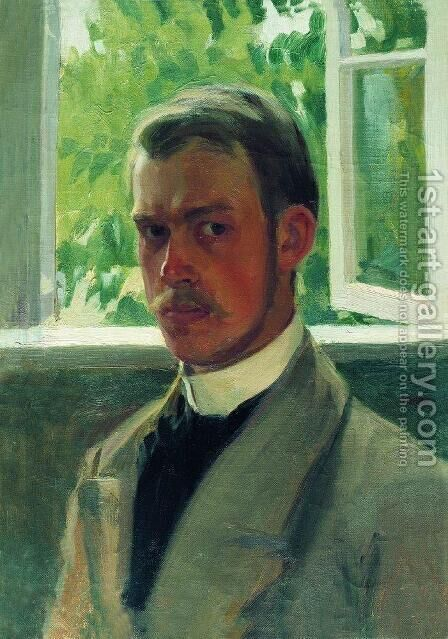 Self Portrait near the Window by Boris Kustodiev - Reproduction Oil Painting