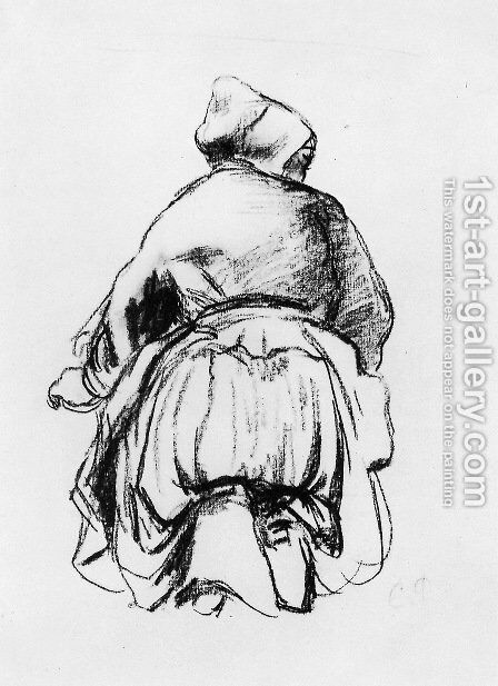 Kneeling woman by Camille Pissarro - Reproduction Oil Painting