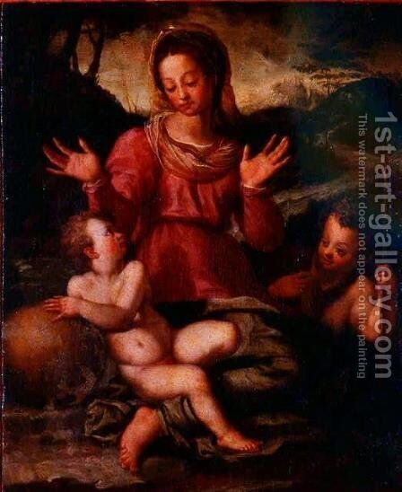 Madonna and Child with St. John the Baptist 2 by Andrea Del Sarto - Reproduction Oil Painting