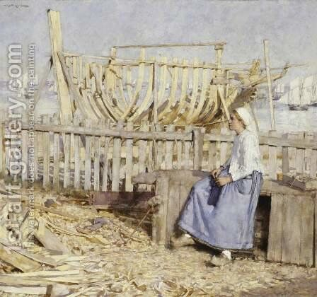 The Boat Builder's Yard, Cancale, Brittany by Henry Herbert La Thangue - Reproduction Oil Painting