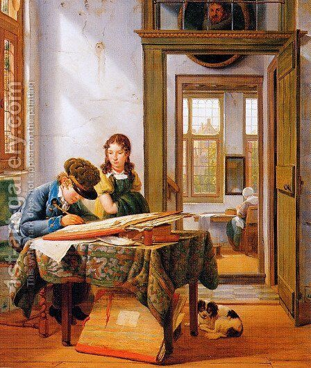 The young draughtsman by Abraham van, I Strij - Reproduction Oil Painting