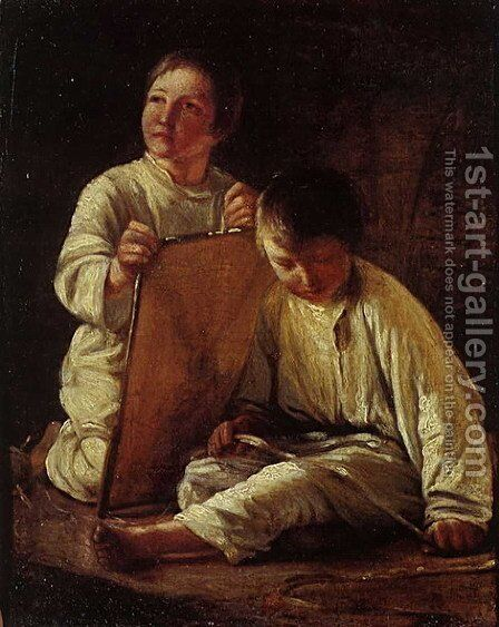 Two Peasant Boy with a kite by Aleksei Gavrilovich Venetsianov - Reproduction Oil Painting