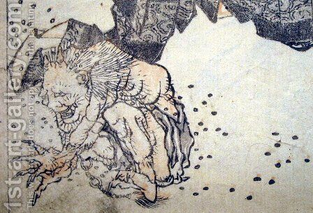 Oni pelted by beans by Katsushika Hokusai - Reproduction Oil Painting
