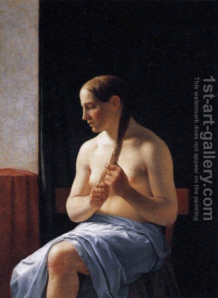 Seated Nude Model 1839 by Christoffer Wilhelm Eckersberg - Reproduction Oil Painting