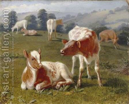 Calves in a Meadow by Briton Rivière - Reproduction Oil Painting