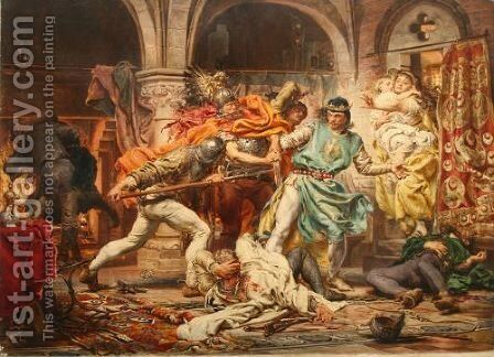 Death of King Przemysl II by Jan Matejko - Reproduction Oil Painting