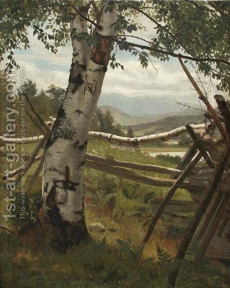 Summer Landscape with birch by Ivan Shishkin - Reproduction Oil Painting