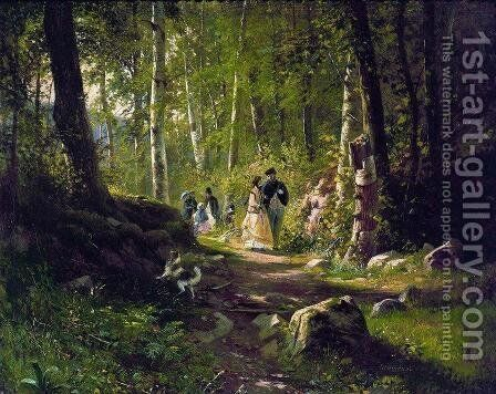 A Walk in the Forest by Ivan Shishkin - Reproduction Oil Painting