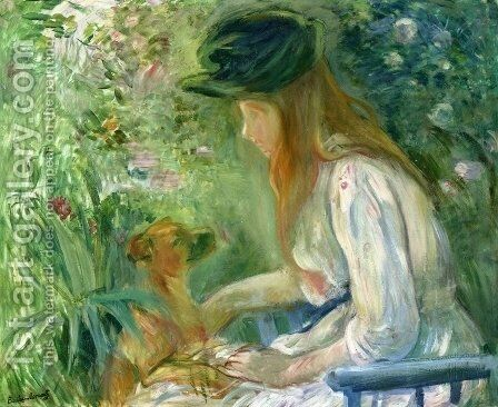 Girl with Dog 2 by Berthe Morisot - Reproduction Oil Painting