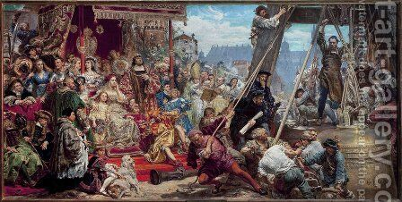 Hanging of the Sigismund bell at the cathedral tower in 1521 in Krakow by Jan Matejko - Reproduction Oil Painting