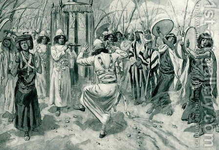 David danced before the Lord with all his might by James Jacques Joseph Tissot - Reproduction Oil Painting