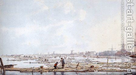 Wooden rafts pm the Biesbosch by Abraham van, I Strij - Reproduction Oil Painting