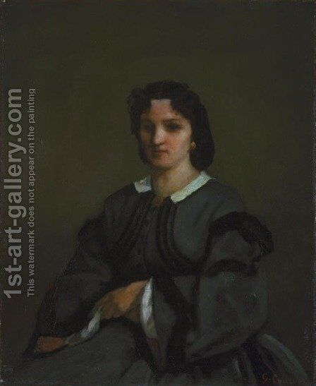 Woman with gloves by Gustave Courbet - Reproduction Oil Painting