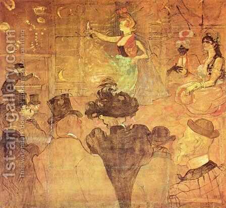 Booth of La Goulue at the Foire du Trone (The Moorish Dance) by Toulouse-Lautrec - Reproduction Oil Painting