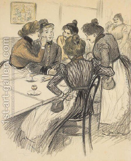 Brasserie Original drawing by Theophile Alexandre Steinlen - Reproduction Oil Painting
