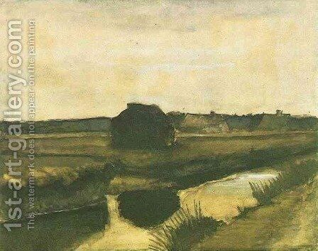 Landscape with a Stack of Peat and Farmhouses by Vincent Van Gogh - Reproduction Oil Painting