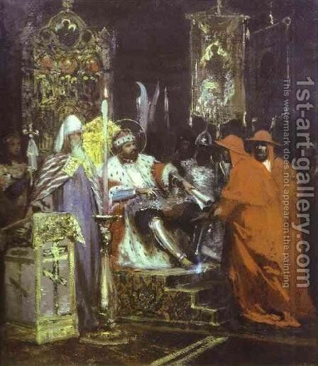 Prince Alexander Nevsky Receiving Papal Legates 2 by Henryk Hector Siemiradzki - Reproduction Oil Painting