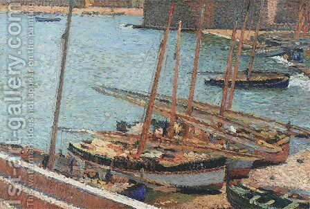 Boats in Port Collioure 2 by Henri Martin - Reproduction Oil Painting