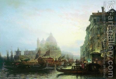 Venice at night by Aleksei Petrovich Bogolyubov - Reproduction Oil Painting
