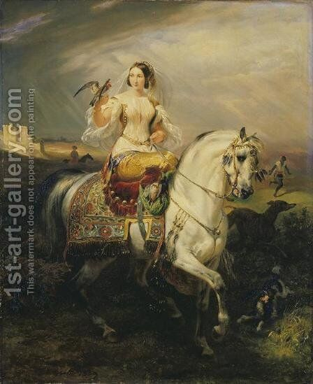 An Algerian Lady Hawking by Horace Vernet - Reproduction Oil Painting