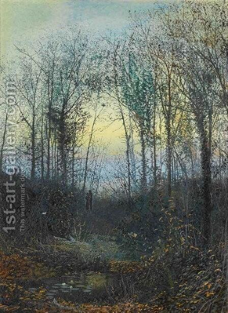Wooded valley, probably Bolton Woods Lovers in a woodland clearing a pair by John Atkinson Grimshaw - Reproduction Oil Painting