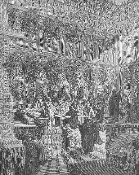 Daniel Interpreting the Writing on the Wall by Gustave Dore - Reproduction Oil Painting