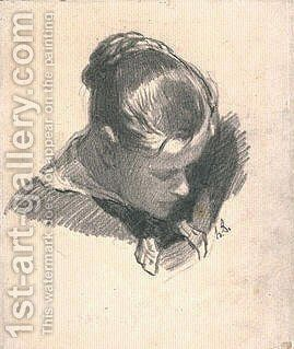 Head of a Young Woman, Leaning Three-quarters Right by Honoré Daumier - Reproduction Oil Painting