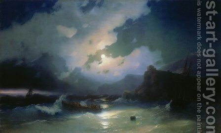 Island of Patmos by Ivan Konstantinovich Aivazovsky - Reproduction Oil Painting