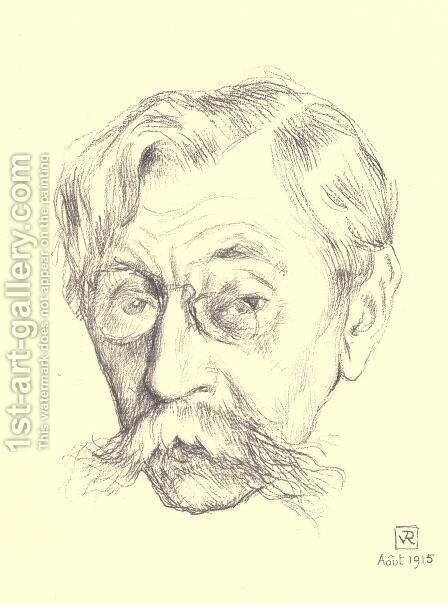 Pencil sketch of the head of Belgian poet Emile Verhaeren by Theo van Rysselberghe - Reproduction Oil Painting
