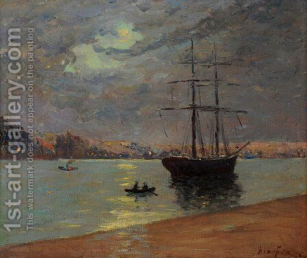 Evening fog over Nantes by Maxime Maufra - Reproduction Oil Painting
