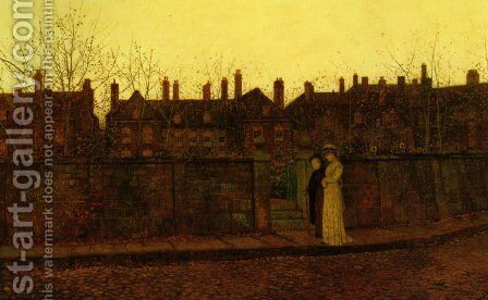 In the Golden Gloaming by John Atkinson Grimshaw - Reproduction Oil Painting