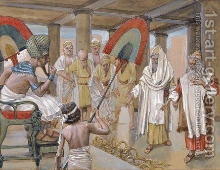 The Rod of Aaron Devours the Other Rods by James Jacques Joseph Tissot - Reproduction Oil Painting